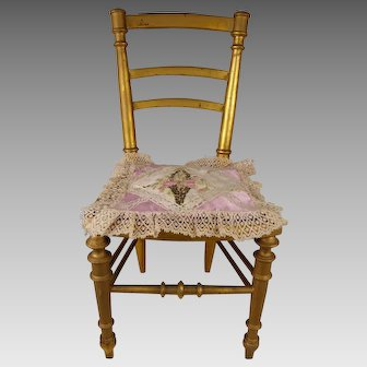 Sweet Original Antique French Gilded Dolls Chair with antique cushion, end 19th century
