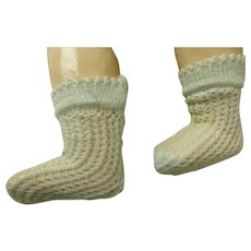 Pair of small French soft aqua fine cotton open weave socks for your antique doll