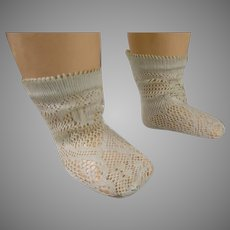 Pair of French aqua fine cotton open weave socks for your antique doll