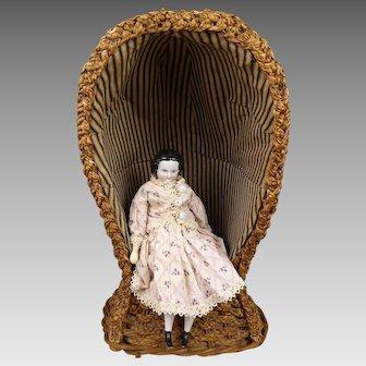 Exceptional Antique original Dolls Hooded Wicker Lawn/Beach Chair