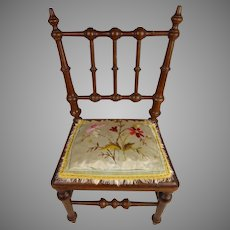 Antique French Mahogany Doll Chair with wonderful upholstery, end of 19th century