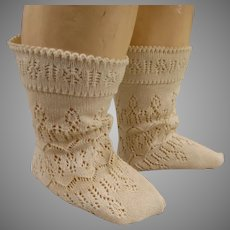 Pair of French creamy fine cotton open weave socks for your antique doll