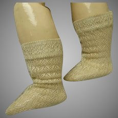 Pair of French creamy silk open weave socks for your antique doll