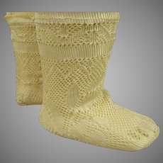 Pair of French creamy fine silk open weave socks for your antique doll