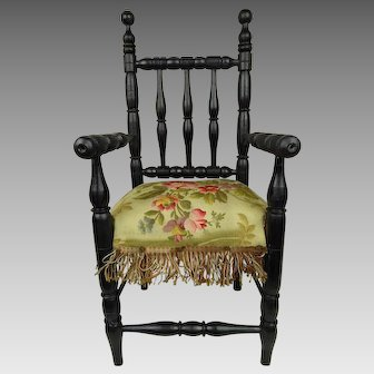 Marvelous Antique Original French ebonized doll chair late 19th century
