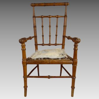 Antique French faux-bamboo dolls armed  chair with antique cushion