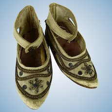 Exceptional Pair of French Early Doll Shoes, mid 19th century.
