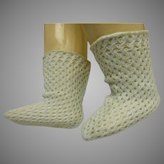 Pair of French soft aqua fine cotton open weave socks for your antique doll