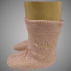 Pair of French pink fine cotton open weave socks for your antique doll