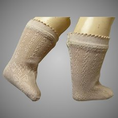 Pair of French salmon-pink fine cotton open weave socks for your antique doll
