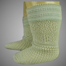 Pair of French fine light blue cotton open weave socks for your antique doll