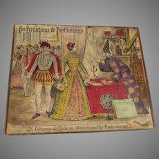 "Beautiful antique French Saussine game, Fortune Telling Game ""Les prédictions de Nostradamus"" from 1875."
