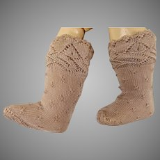 Pair of French old-rose silk open weave socks for your antique doll