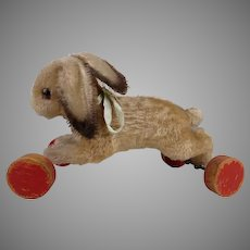 Steiff exceptional and rare rabbit on wheels from 1949 only