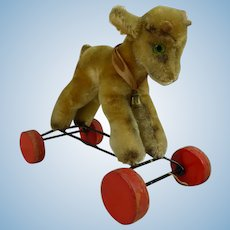 Rare Steiff  Zicky Goat pull toy on wheels