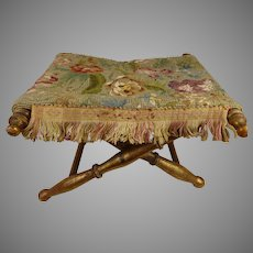 Rare antique gilt French folding stool/seat for Fashion doll or early dol, ca 1860