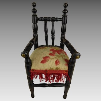 Exceptional small antique original very fine French ebonized  armed doll chair late 19th century