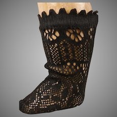 Pair of French black fine cotton open weave socks for your antique doll
