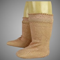Pair of French Fine Rosa Silk Open Weave Socks for your antique doll
