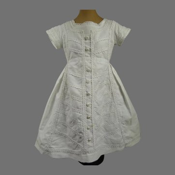 Wonderful Antique Original White Pique Dolls Dress  from ca 1870