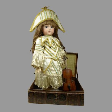 Exceptional Silk Antique dolls Polichinelle-Party Costume with antique Violin and presentation trunk