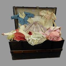 """Antique original French doll domed travelling trunk with beautiful antique trousseau  for your 11,4"""" (29cm) doll"""