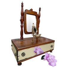 Antique French wooden dressing table with mirrored sides and trinket box