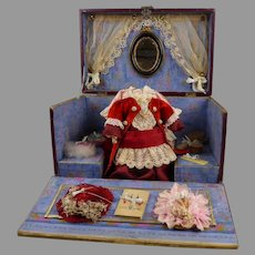 Exquisite antique French Burgundy and Blue Presentation Box with trousseau and accessories