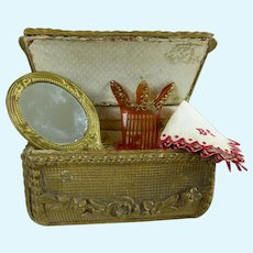 Elegant French trunk shaped  vanity box with wonderful fashion accessories