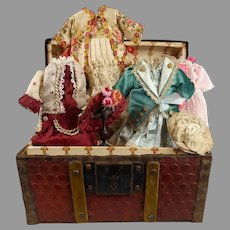 """Antique original domed French doll traveling trunk with beautiful trousseau  for your 8,3-8,7"""" (21-22cm) doll"""