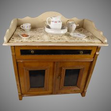 Antique original fine oak wash stand with toilette set and laundry, end 19th century