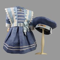 Georgeous French antique doll sailor/mariners dress with a matching MIGNON beret
