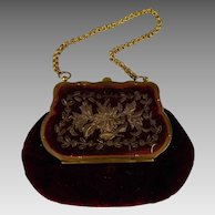 Exquisite Velvet Burgundy doll Bag with purse for your Fashion Doll or Bébé from ca 1870