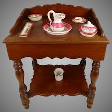 Sweet antique French  mahogany Wash Stand/toilette table with  toilette set from the end of the 19th century