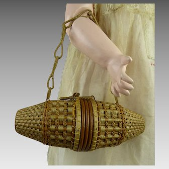 Exceptional antique French wicker bag/valise  for a larger Fashion Doll or  Bébé  from ca. 1910