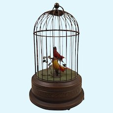 Antique original mechanical music box/ bird cage – two birds - REUGE