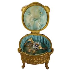 Wonderful French  bronze Vitrine, Jewelry Box  with original blue silk interior for your Fashion Doll.