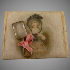 Tiny Poupee Magnifying Glass, mid 19th century with Ormolu Frame in silk covered box