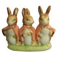 Beswick Gold Oval Beatrix Potter Flopsy Mopsy and Cottontail Figurine