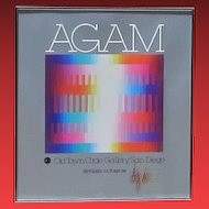 YAACOV AGAM, Listed Israeli, Hand Signed 1981 Poster, Old Town Circle Gallery, San Diego