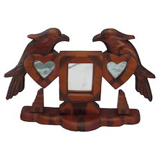 Antique PA Dutch Folk Art Distelfinks & Hearts Inlaid Wooden Table Top Mirror