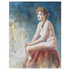 HUNTER BARKER, Listed, Seated Nude Female, watercolor