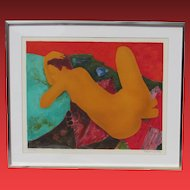ALAIN BONNEFOIT, Lstd, Orange Nude Resting, Lithograph, signed/#183/250