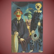 FRANCIS ATLEE CALDWELL, Listed California Modernist, Happy Clowns w Instruments, oil