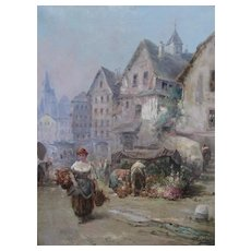 G. CALIXTE, Early 1900's, Girl Carrying Flowers in a Marketplace, oil painting