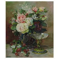 ELISE CLOCQUET, 20th Century Belgian, Still Life with Flowers, Berries & Goblet, oil