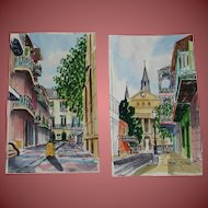 WILLIAM COLLINS, 20th Cent New Orleans, Pair of w/c's, Church & Courtyard, French Quarter
