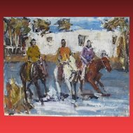 JAMES COLT, Listed Western, Three Riders by an Adobe, Mixed Media