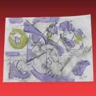 HAROLD CHRISTOPHER DAVIES, California Modernist Musical Abstract, mixed media, 1968