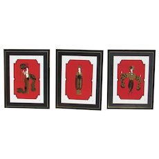ERTE Asian Princess Trio S/N Framed Embossed Serigraphs Retail at $17,500